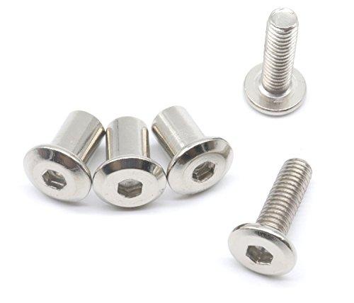 binifimux 10-set M6x 30mm Stift Senkschrauben mit Innensechskant Cap Schrauben und Hex Head Schaft Muttern für Möbeln Wiege Stühle, vernickelt -