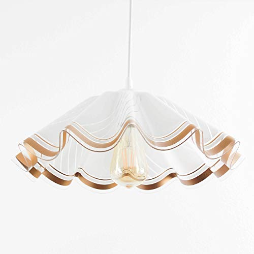 Hängeleuchte in Weiß Gold Zeitloses Design 1x E27 bis zu 60 Watt 230V aus Kunststoff Küche Esszimmer Pendelleuchte Hängelampe Pendellampen innen