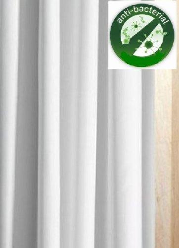 LUXXUR TM SUPERIOR ANTIBACTERIANO  240CM DE ANCHO X 180CM DROP–EXTRA ANCHO–BLANCO CORTINA DE DUCHA (TELA DE POLIESTER LAVADORA  DOBLADILLO CON PESO Y OJETES INOXIDABLES)  COLOR BLANCO