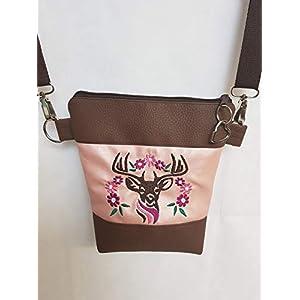 Dirndl Tasche Handtasche Umhängetasche braun rosa Kunstleder Reh Blumen Oktoberfest