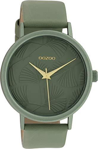 Oozoo Damenuhr mit Lederband 42 MM Colours of Oozoo Ginkgoblatt Zifferblatt Unicolor Grün C10392