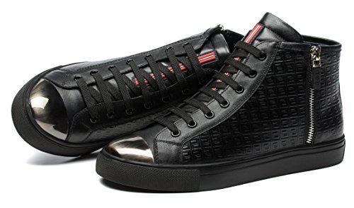 OPP Hommes Mode Chaussures de Travail Side Zip Sneaker Hautes Noir
