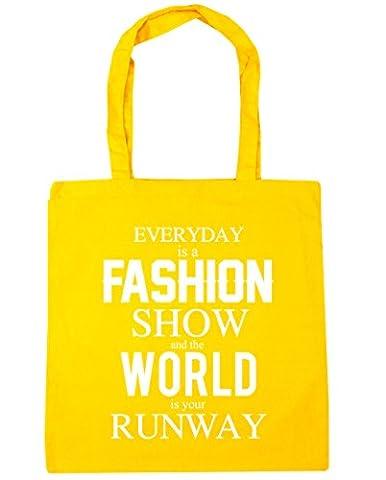 hippowarehouse quotidien est un sac Fashion Show et le monde est votre Runway Shopping Gym Sac de plage 42cm x38cm, 10litres - jaune - Taille unique
