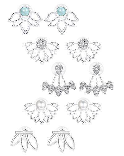BESTEEL 5Pairs Lotus Blumen Ohrringe Jackets für Frauen Mädchen Einfache Chic Ohrstecker Perle Türkis CZ Ohrringe (Ohrringe Perlen)