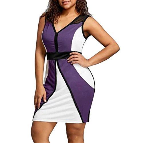 Moonuy Damen Business-Kleid, Patchwork Plus Size Bodycon Ärmellose Party Business Style Minikleid, Ärmellose V-Neck über dem Knie, Mini Bleistiftrock, Casual Spring Rock (Lila, EU 44/Asien 3XL) (Rock Womens Trend Nike)