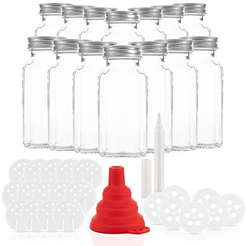14er Set Gewürzgläser mit 21 Ausgießern - Glasbehälter mit einer Füllmenge von 170ml - Wiederverwendbare Gläser mit Luftdichtem Deckel - Bedruckte und unbedruckte Label - Mit Stift zum Beschriften