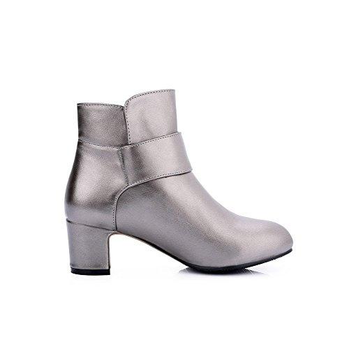AllhqFashion Damen Rund Zehe Mittler Absatz Weiches Material Niedrig-Spitze Rein Stiefel Silber