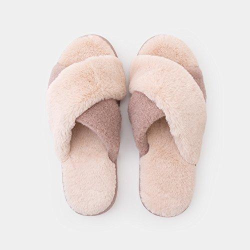 DogHaccd pantofole,Home autunno inverno caldo cotone pantofole soggiorno femmina di spessore antiscivolo bella casa SCARPE Indoor,GrigioBianco Brown3