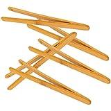5pcs Pinzas Recta de Madera Bambú Antiestática Herramientas para Micro Paisaje de Jardín