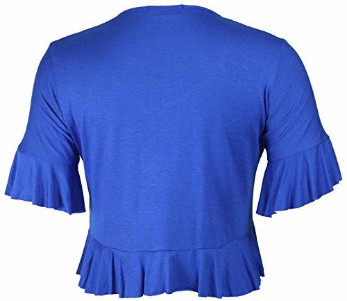 Coprispalle da donna, top, bolero, elasticizzato, con frange, cardigan, taglie forti Royal Blue