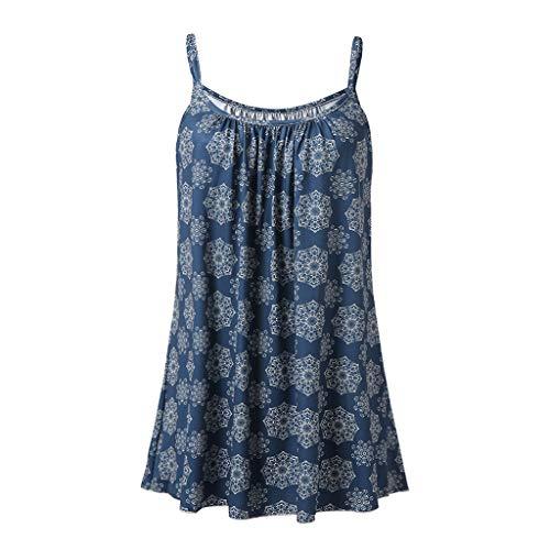 Preisvergleich Produktbild Yvelands Damen Weste Unterhemd ärmellose T-Shirts Sommer gedruckt Bluse Tank Tops Camis Kleidung(Marine, S)