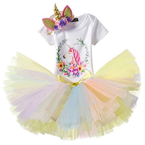 NNJXD Mädchen Einhorn Blume Regenbogen Tutu 1. Geburtstag 3 Stück Outfits Strampler +Rock+ Gold Stirnband Größe (1) 1 Jahre Gelb
