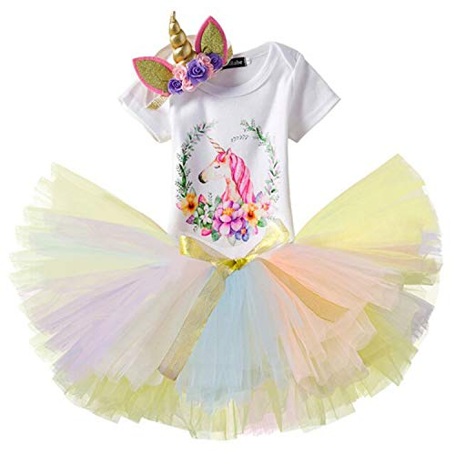 b7b398180 NNJXD Unicornio Arco Iris Tutú Primer Cumpleaños Trajes de 3 Piezas ...