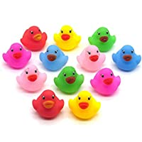 timeracing 12Pcs Lovely Mini Colorful Bathtime Kids Baby Bath Toy Ducks Squeaky Water Play Fun