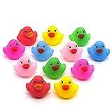 12 kleine, bunte Bade-Enten für Kinder, Baby-Badespielzeug, Spielzeug-Enten, quietschender Wasser-Spielspaß