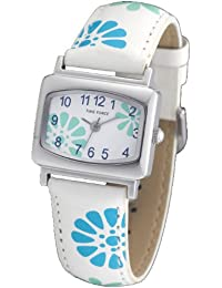 Reloj TIME FORCE para niña/señora. Acero Correa de piel. Flores azules y verdes. TF-3389B03