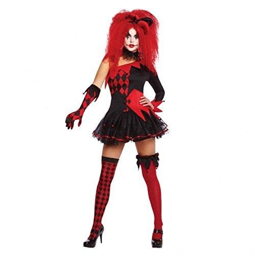 Damen jesterina Damenkostüm Trickster Party Outfit - Schwarz/Rot, Size UK - Large - ()
