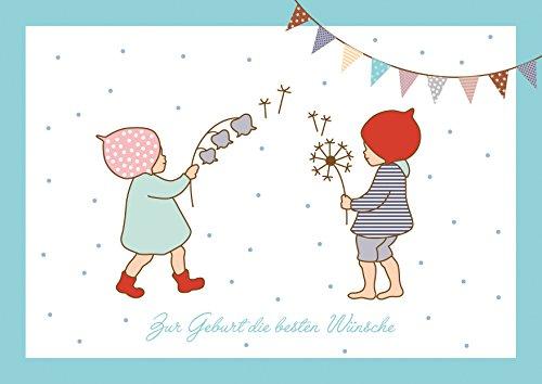Zur Geburt die besten Wünsche Glückwunschkarte zur Geburt für Zwillinge Mädchen und Junge (Babykarte/Zwillings Baby Karte) mit 2 Wichtelmännchen und Girlande in Blau (Mit Umschlag) (1)
