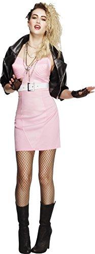 Fever, Damen 80er Jahre Rock Diva Kostüm, Kleid, Jacke, Gürtel, Halskette und Stirnband, Größe: S, (Kostüm Rock Party Großbritannien)