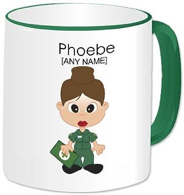 Personalised Paramedic Girl Mug- Green Handle
