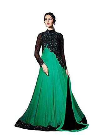Womaniya Online Women Dress Material ( Green & Black )