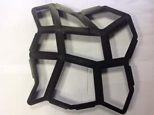 Plastic Mould - Stampo per pavimentazione in cemento 44 cm x 44 cm x 4 cm, taglia media/piccola, per realizzare selciato con pietre, per giardini e terrazze