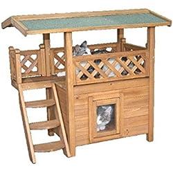 Gato Casa–Gato Villa–Gato hogar con Balcón y Salón de Madera para interior y exterior