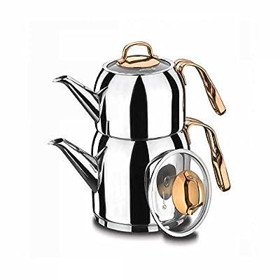 Korkmaz Turc Théière Tea Pot A192Rosanna Argent Or Rose induction Caydanlik