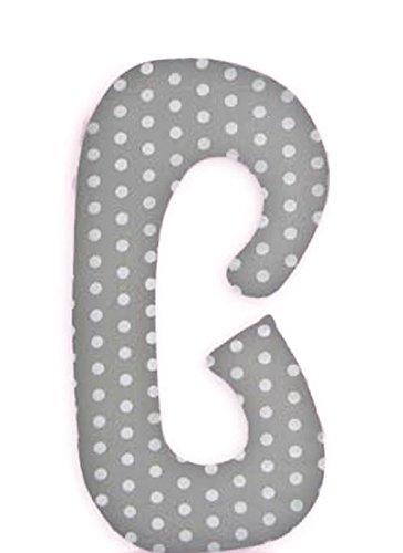 SM Seitenschläferkissen Schwangerschaftskissen Stillkissen Lagerungskissen ca.115x55cm Typ C (Grau/Grosse Punkte Nr. 15)
