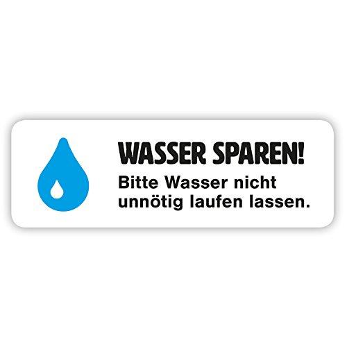 """10 x Aufkleber """"Wasser sparen"""" - Hinweis für Bad, Küche und Büro - (weiß, 66 x 22 mm)"""