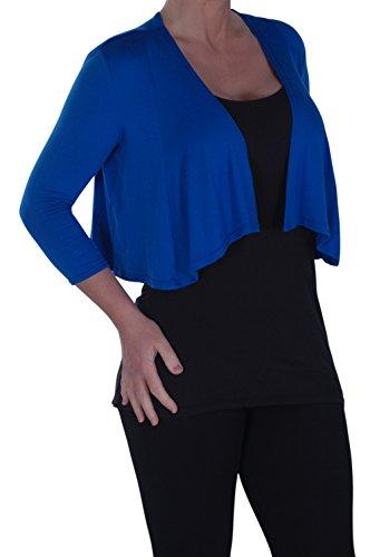Eyecatch - Avena Aux Femmes Haut Étendue Haussement DÉpaules Boléro Cardigan Dames Désinvolte Royal Bleu