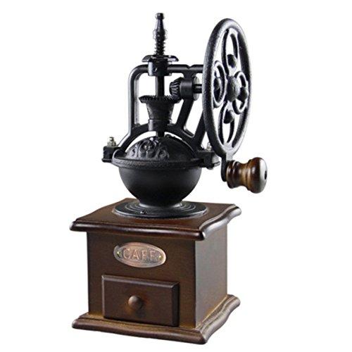 UniqueHeart Manuelle Kaffeemühle Vintage Style Holz Kaffeebohne Mühle Schleifen Riesenrad Design Handkaffeemaschine Maschine (Antike Manuelle Kaffeemühle)