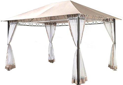 Grasekamp Stil Pavillon 3x4m - Sand mit 4 Seitenteile