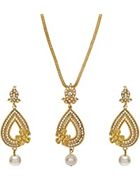 FreshVibes Gold Plated Jewellery Set For Women For Wedding – Traditional Pearl Drop Gold Plated Pendant Set For...