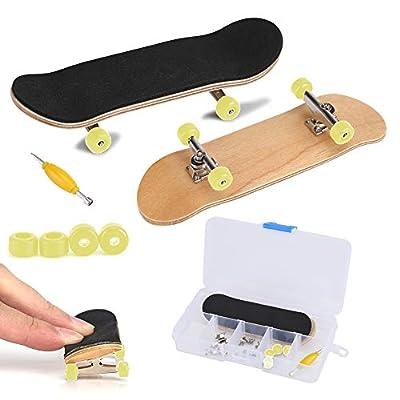 Fingerboard Finger Skateboards, Mini diapasón, Patineta de Dedos Profesional para Tech Deck Maple Wood DIY Assembly Skate Boarding Toy Juegos de Deportes Kids (Amarillo) de Zerodis