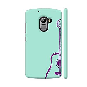 Colorpur Lenovo K4 Note Cover - Purple Guitar On Soft Green Printed Back Case