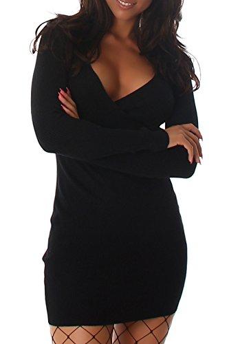Voyelles Damen Strickkleid, ein figurbetonendes Rippkleid mit V-Ausschnitt im Wickellook, in vielen Farben erhältlich 34-38 Schwarz