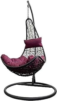 Trendyshop365 Polyrattan Outdoor H/ängesessel Mit Gestell H/ängeliege Gartenliege Belastbar Bis 150kg