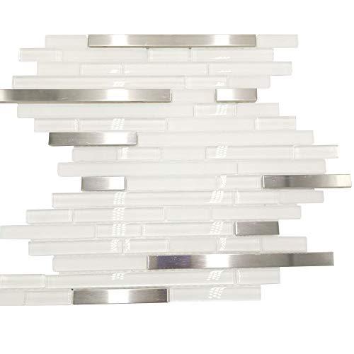 Armena 310158YH12B GlasFliesen 1qm Edelstahl Mosaikfliesen Glasstreifen in Weiß YH12B, Sliver