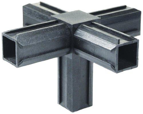 GAH-Alberts 426408 XD-Rohrverbinder - Kreuzstück und einem weiteren rechtwinkeligen Abgang, Kunststoff, schwarz, 20 x 20 x 1,5 mm / 10 Stück