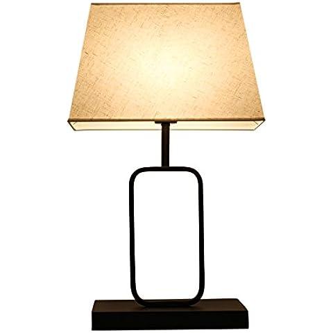 YUENLONG Lámparas chinas nuevo minimalistas moderno cálido lámpara de noche hierro dormitorio den sala mesa de té lámpara 60 cm * ancho 22cm