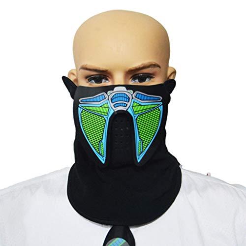 (LED Gesichtsmaske Outdoor Kostüm Luminous Blinklicht Gesichtsmaske Für Halioween Weihnachtsfeier, winddichte Maske (Farbe : A))