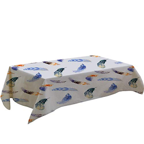Nncande Feder Muster Tischdecke Teppich Picknickdecke Verhindern Sie Staub Tuch -Tischläufer Tischtuch Tischwäsche Tafeltuch Zuhause Restaurant Camping Tischdecke - 140x180CM