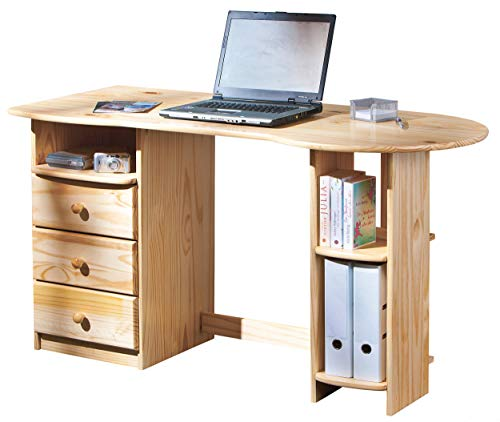 H24living Schöner eleganter Schreibtisch Computertisch Büromöbel PC Tisch Bürotisch Arbeitstisch Kiefer massiv mit 3 Schubladen und Ablagefächer