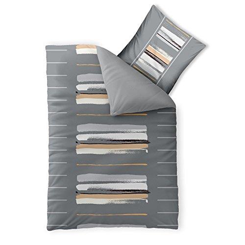 aqua-textil Trend Hanaa Bettwäsche 2 teilig 135x200 Baumwolle atmungsaktiver weicher Bettbezug Kissen Uni Streifen anthrazit schwarz natur weiß grau 0011716