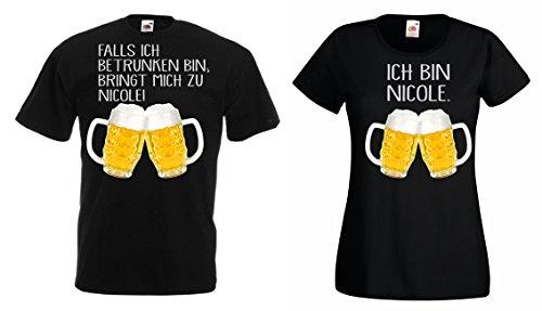 TRVPPY Partner Herren + Damen T-Shirt/Falls ICH BETRUNKEN Bin,BRINGT Mich ZU. mit Wunschname, Herren XL, Damen L, Schwarz -