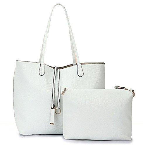 Frauen-Handtaschen-Art- Und Weisehandtaschen Für Frauen Einfaches PU-lederne Schulter-Beutel-Einkaufstaschen White
