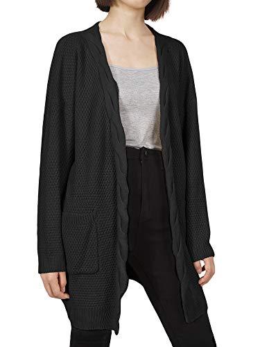 f4dc9021e5df07 DYLH Cardigan Donna Lungo Maglione Maglia Sweater Cappotto Anteriore Aperto  con Tasca Maglioni Autunno Inverno Nero
