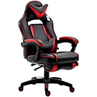Cherry Tree Furniture CTF High Back Recliner Racing Style Gaming Swivel Chair with Footrest & Adjustable Lumbar & Head Cushion (Black & Red)