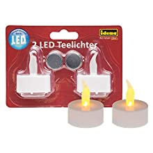 Idena 408982 2 LED Tea Lights, Electric Candles with Flickering Light, Includes Batteries, Decoration for Wedding, Party, Christmas, Easter, Mood Light